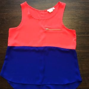 Color block tank with back button detail